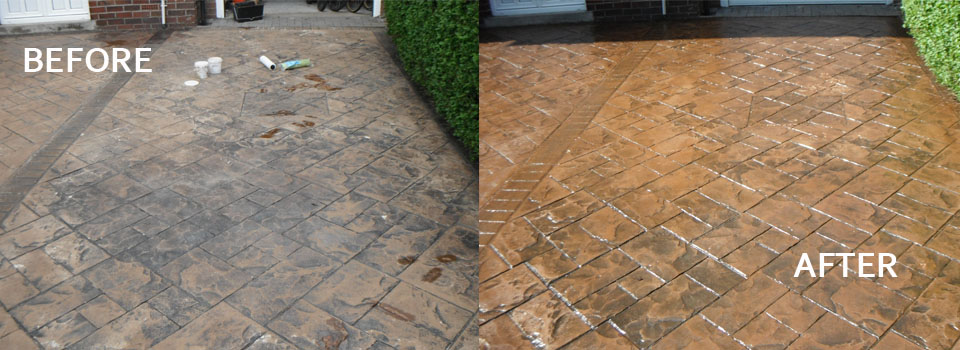 before and after imprinted concrete cleaning
