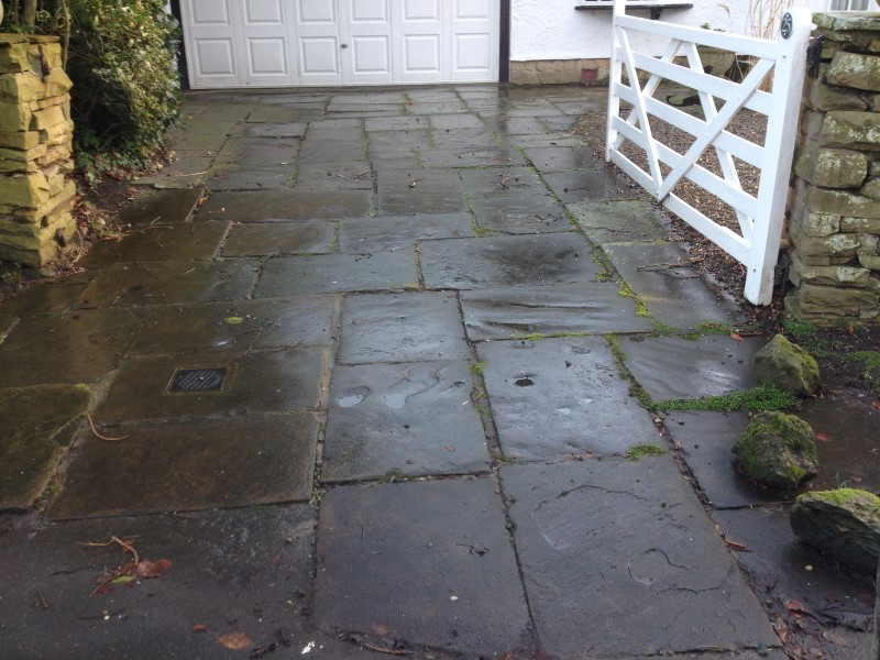 image of york stone flags after pressure washing in crosby merseyside