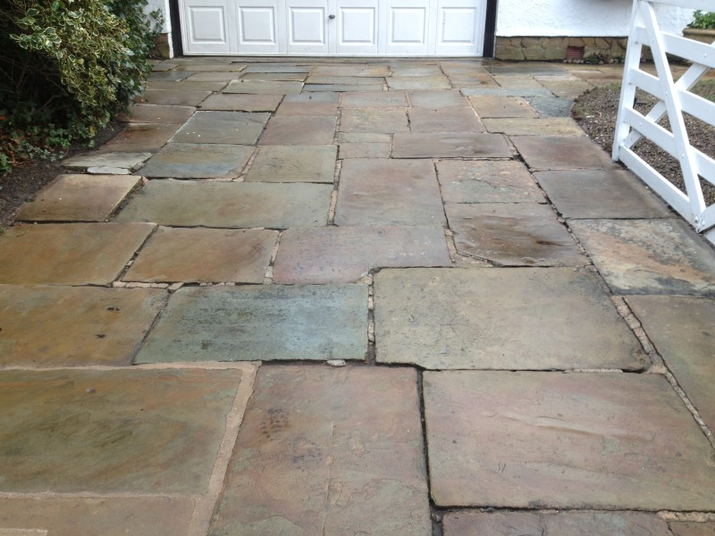 image of york stone flags before pressure washing in crosby nr liverpool merseyside
