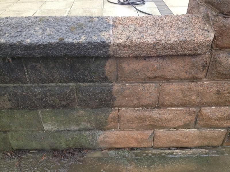 image of pressure washing a wall in crosby merseyside