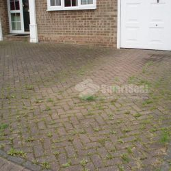 image of block paving before cleaning and sealing southport merseyside www.driveway-cleaning.co